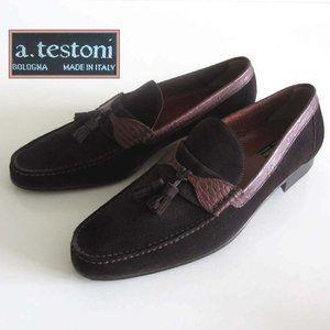 A.TESTONI croc print suede tassel loafers 11 1/2 M